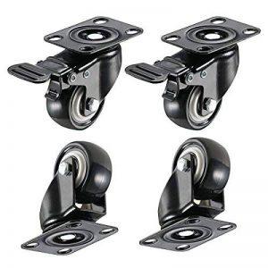 4 roulette pivotantes dont 2 avec freins - 40mm - Avec double verrouillage de sécurité - Roues silencieuses en et chlorure de polyvinyle - Très résistantes - Capacité de charge de 150 kg. de la marque ZG-HOME image 0 produit