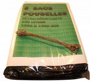 5 Sacs Poubelle Grande Contenance, Sac à Ordure extra-fort 240L, 120 x 150 cm, Très résistants + 10 Fils de fermeture de la marque Artecsis image 0 produit