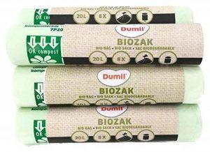 72 pièces Bio sacs poubelle 20L 45 x 50 cm, DIN EN 13432, compostable, indéchirable, BIOM Absorbeur 20 L de la marque Dumil image 0 produit