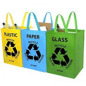 AMOS Lot de 3 Sacs Réutilisables 53L de Recyclage avec Poignées Séparateurs de Déchets pour Tri Sélectif du Papier Plastique Verre de la marque Amos image 0 produit