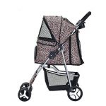 Anaelle Pandamoto Poussette Chariot pour Chien Chat Animaux Pliable Imperméable en Nylon, Taille: 75 x 45 x 97cm, Poids: 5kg (Léopard) de la marque Panana image 2 produit