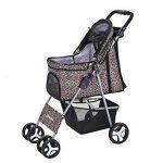 Anaelle Pandamoto Poussette Chariot pour Chien Chat Animaux Pliable Imperméable en Nylon, Taille: 75 x 45 x 97cm, Poids: 5kg (Léopard) de la marque Panana image 1 produit