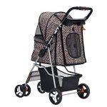 Anaelle Pandamoto Poussette Chariot pour Chien Chat Animaux Pliable Imperméable en Nylon, Taille: 75 x 45 x 97cm, Poids: 5kg (Léopard) de la marque Panana image 3 produit