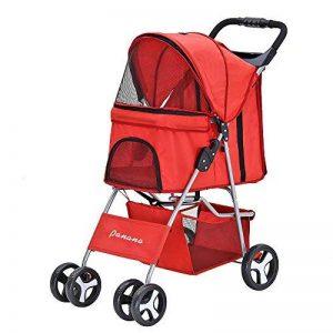 Anaelle Pandamoto Poussette Chariot pour Chien Chat Animaux Pliable Imperméable en Nylon, Taille: 75 x 45 x 97cm, Poids: 5kg (Rouge) de la marque Panana image 0 produit