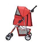 Anaelle Pandamoto Poussette Chariot pour Chien Chat Animaux Pliable Imperméable en Nylon, Taille: 75 x 45 x 97cm, Poids: 5kg (Rouge) de la marque Panana image 2 produit