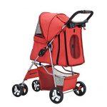Anaelle Pandamoto Poussette Chariot pour Chien Chat Animaux Pliable Imperméable en Nylon, Taille: 75 x 45 x 97cm, Poids: 5kg (Rouge) de la marque Panana image 3 produit