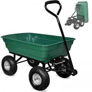 Brouette verte - Chariot de jardin avec fonction d'inclinaison, essieu directeur et pneumatiques de la marque Deuba image 0 produit