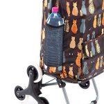 Chariot de course, poussette de marché 6 roues coloris marron avec motif chats 43L de la marque Wedestock image 2 produit