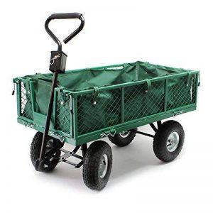 Chariot de jardin à main 300kg avec bâche amovible et grilles remorque de transport charette de la marque WilTec image 0 produit