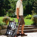 Chariot de jardin mobile de GARDENA: chariot polyvalent pour le jardin, avec un chariot à main intégré, roues adaptées à la pelouse (232-20) de la marque Gardena image 3 produit