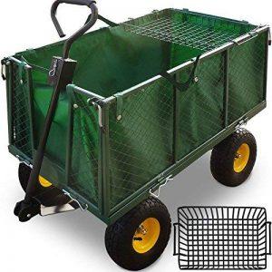 Chariot Remorque de transport jardin Côtés amovibles sur 4 roues Charrette avec Panier metallique de la marque Deuba image 0 produit