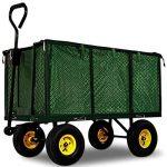 Chariot Remorque de transport jardin Côtés amovibles sur 4 roues Charrette avec Panier metallique de la marque Deuba image 1 produit