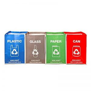 Chemins de recyclage déchets Sacs Poubelle pour bureau de cuisine en Home–Recyclez Garbage poubelles de tri Organiseur étanche paniers Compartiment à nourriture Big Taille 4Sacs de Lot de de la marque ANUANT image 0 produit