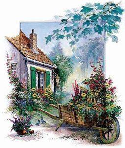 Châssis de image–Reint Withaar: The blossomming Barrow 50x 57cm Fleurs brouette de avant Idylle de Ferme romantique ländlich de la marque Rahmen-Kunst image 0 produit