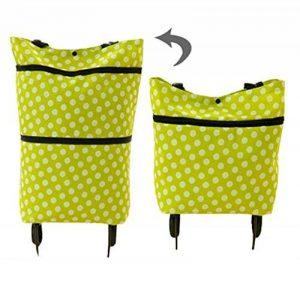 Comfysail Chariot De Courses Pliable ultra léger Sac 2 en 1 Cabas Shopping ,Couleur vert (Polka Verte) de la marque Comfysail image 0 produit