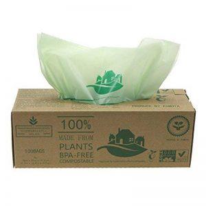 Compostables Cuisine Caddy Sacs – 100 BioBag déchets alimentaires Compost 6L / 10L /30L – en13432 – Sacs Poubelle biodégradables avec guide de compost (6L) de la marque Kumoya image 0 produit