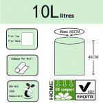 Compostables Cuisine Caddy sacs – BioBag déchets alimentaires Compost 6L / 10L – en13432 – Sacs Poubelle biodégradables avec guide de compost (10L) de la marque Kumoya image 1 produit