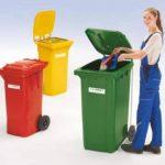 Conteneur à déchets en plastique conforme à la norme DIN EN 840 - capacité 240 l, h x l x p 1067 x 580 x 730 mm vert, 5 pièces et + - collecteur d'ordures collecteur de déchets conteneur à déchets conteneur à ordures poubelle poubelle à déchets poubelle à image 1 produit