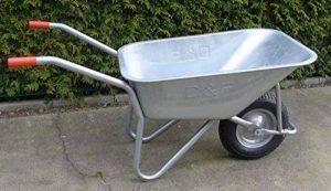 D&F Brouette pour le jardin, la construction et l'écurie avec la jante en acier, entièrement galvanisée, enduite de poudre de la marque D+F image 0 produit