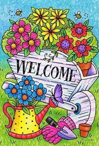 DIYCCY Bienvenue Brouette 31,8x 45,7cm Décoratifs Coloré Printemps Été Jardinage Flower Garden Drapeau de la marque image 0 produit