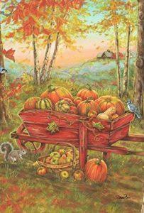 DIYCCY Harvest Brouette 68,6x 94cm Décoratifs Automne Feuilles D'automne Citrouille Brouette Maison Drapeau de la marque image 0 produit