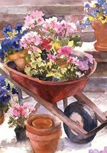 DIYCCY Rouge Brouette 31,8x 45,7cm Décoratifs à Ressort en Pot Flower Garden Drapeau de la marque image 0 produit