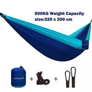 Double 2 Personnes Hamac , 500KG de très grande capacité(320 x 200 cm) Camping Portable dans un sac utilisé pour la randonnée, jardin, léger, séchage rapide sangles d'arbres hamac, mousquetons, ancres et corde de la marque LAMURO image 0 produit