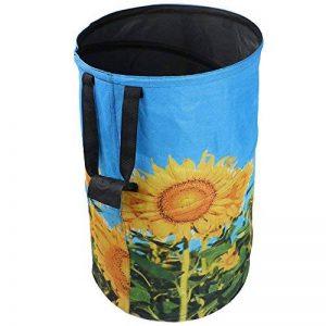 FLORA GUARD Sac de jardin de 32 gallons - sac de jardinage réutilisable , sac à déchets portatif en toile pliable imprimé fleur de soleil de la marque FLORA GUARD image 0 produit