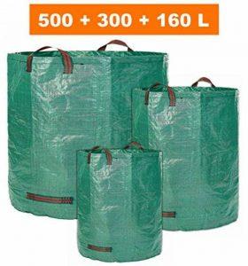 Glorytec 3x sac de jardin 160L + 300L + 500L - 3 sacs à déchets de jardin premium - Sacs de jardin robustes en polypropylène extrêmement robuste (PP) 150gsm - sac à feuilles autoportant et pliable de la marque Glorytec image 0 produit