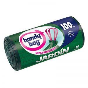 Handy Bag 1 Rouleau de 10 Sacs Poubelle 100 L, Pour le Jardin, Poignées Coulissantes, Ultra Résistant, Anti-Fuites, 82 x 95 cm, Vert Foncé, Opaque de la marque Handy-Bag image 0 produit