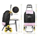 INTEY Poussette de Marché escalier, chariot de course 6 roues, un siège pliable intégré, 38L. de la marque INTEY-FR image 1 produit