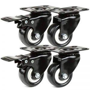 JZK 4 x Noir lourd 50mm Roues pivotantes en PU chariot roulette de meubles roue de chariot industriel de la marque JZK image 0 produit