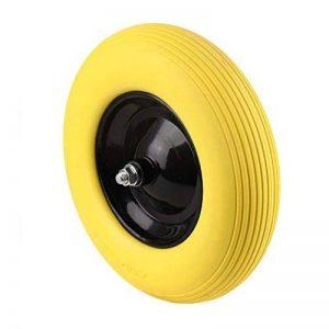 KinshopS Roue de roue pneu en caoutchouc PU 4.80 / 4.00-8 ø = 390 mm pour brouette pneu en caoutchouc plein roue de secours anti-crevaison (Jaune) de la marque KinshopS image 0 produit