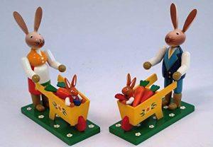 Lapin à la brouette, 2modèles (1pro Achat H) 12,5x 5,5x 16cm neuf Figurine Pâques Pâques de la marque Rudolphs Schatzkiste image 0 produit