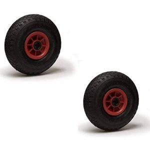 Lot de 2 roues gonflables 3.00-4 (2PR) pour diable, brouette et chariot 260 x 85 Alésage 25 de la marque Roues-et-Roulettes.com image 0 produit