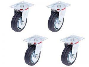 Lot de 4 Roulettes pivotantes (Set 100 mm TR-02c4) Roulette pivotante Armature en tôle acier galvanisée Roue à bandage caoutchouc noir Jantes à roulement à rouleaux économique, silencieuse , non tachant pour chariot transport charge de qualité supérieure image 0 produit