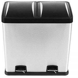 Mari Home 60L Poubelle Tri Sélectif Poubelle de recyclage acier inoxydable empreinte digitale résistant avec pédale et compartiment de recyclage (2 seaux, 2x30L) de la marque Mari Home image 0 produit