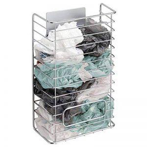 mDesign AFFIXX meuble de rangement sacs plastique – support métallique adhésif pour sacs plastique – panier de rangement pratique pour sacs en plastique, de congélation, etc. – argent de la marque MetroDecor image 0 produit