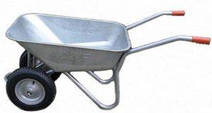 mit Titel '' D&F Brouette pour le jardin, la construction et l'écurie avec la jante en acier, entièrement galvanisée, enduite de poudre (deux roues 100L) '' de la marque D+F image 0 produit