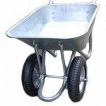 mit Titel '' D&F Brouette pour le jardin, la construction et l'écurie avec la jante en acier, entièrement galvanisée, enduite de poudre (deux roues 100L) '' de la marque D+F image 1 produit