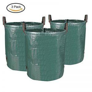 MVPOWER 3 x 272L Sac de Jardin Sac de Déchets de Jardin en PE Solide - Autoportante et Pliable - Sacs Poubelle pour les Déchets de Jardin Feuillage de Pelouse Vert Coupe -Réutilisable (3xSac) de la marque MVpower image 0 produit