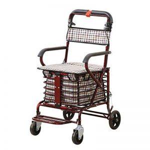 NQFL Panier D'achat Pour Personnes âgées Pliable Portable Siège à Quatre Roues Chariot Chariots à Provisions Panier D'achat Poignée Réglable Support,WineRed-70*55*93cm de la marque NQFL image 0 produit