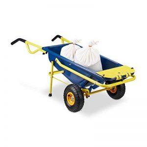 Relaxdays Brouette multifonctions 8 en 1 65 litres transport 136 kg, bleu jaune de la marque Relaxdays image 0 produit