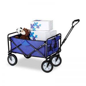 Relaxdays Chariot charrette de jardin 360° mobile voiturette pliable 4 roues avec poignées HxlxP: 55 x 83 x 51,5 cm, bleu de la marque Relaxdays image 0 produit
