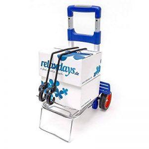 Relaxdays Diable pliable chariot de transport trolley 30 kg de charge maximum chariot de courses avec poignées ergonomiques en aluminium, bleu de la marque Relaxdays image 0 produit