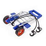 Relaxdays Diable pliable chariot de transport trolley 30 kg de charge maximum chariot de courses avec poignées ergonomiques en aluminium, bleu de la marque Relaxdays image 1 produit