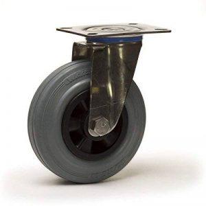 Roulette pivotante INOX Ø100 fixation platine, caoutchouc gris de la marque Roues-et-Roulettes.com image 0 produit