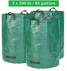 Sac de jardin 3 x 300 litres - 3 sacs de jardin Premium XXL - Sacs de déchets de jardin stables en polypropylène extrêmement robuste (PP) 150gsm - Sacs à feuilles autoportants et pliants par GloryTec de la marque Glorytec image 0 produit