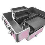 SAILUN® 4 couches cas cosmétiques beauté aluminium Maquillage Chariot avec le télescopique et 4 roues 350 * 250 * 770 mm (Rose) de la marque SAILUN image 4 produit