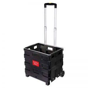Schramm® Chariot de commissions pliable Noir Panier rabattable avec poignée télescopique de la marque Schramm image 0 produit